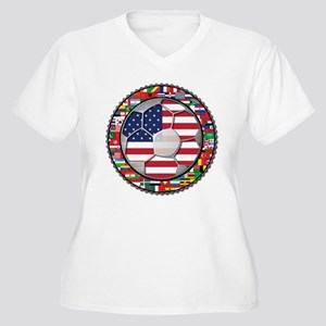 United States Flag World Cup Women's Plus Size V-N