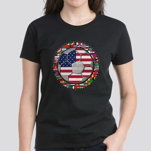 United States Flag World Cup Women's Dark T-Shirt