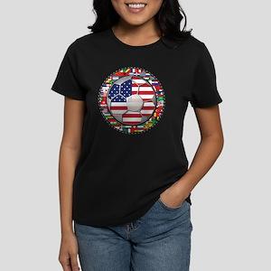 United States Flag World Cup Women's Dark T-Shirt
