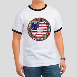 United States Flag World Cup Ringer T