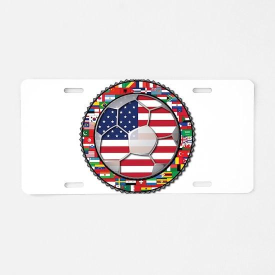 United States Flag World Cup Aluminum License Plat