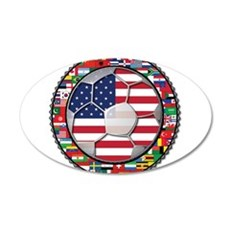 United States Flag World Cup 22x14 Oval Wall Peel