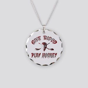 Give Blood Play Hockey Necklace Circle Charm