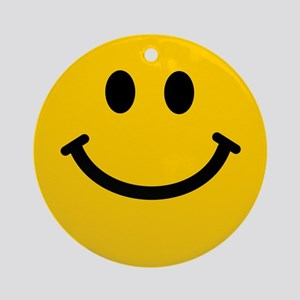 Yellow Smiley Face Ornament (Round)