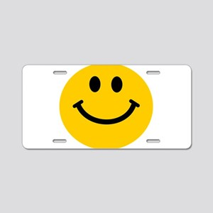 Yellow Smiley Face Aluminum License Plate