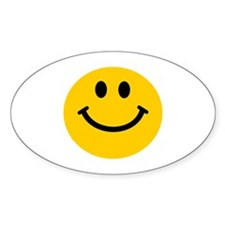 Yellow Smiley Face Sticker (Oval)