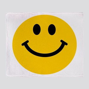 Yellow Smiley Face Throw Blanket