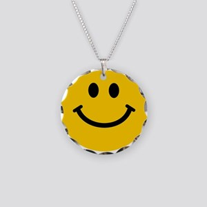 Yellow Smiley Face Necklace Circle Charm