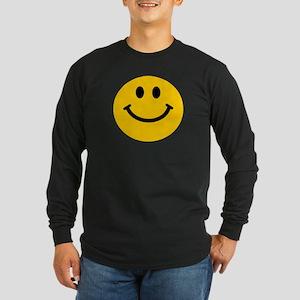 Yellow Smiley Face Long Sleeve Dark T-Shirt