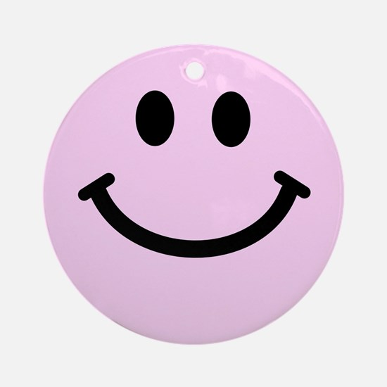 Pink Smiley Face Ornament (Round)