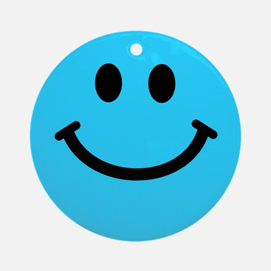 Blue Smiley Face Ornament (Round)