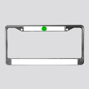Green Smiley Face License Plate Frame