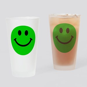 Green Smiley Face Drinking Glass