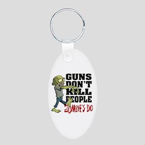 Guns Don't Kill People - Zo Aluminum Oval Keychain