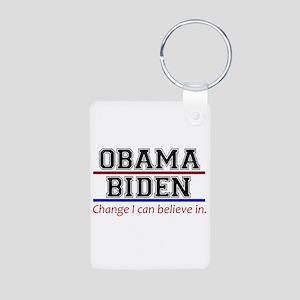Obama Biden Change Aluminum Photo Keychain