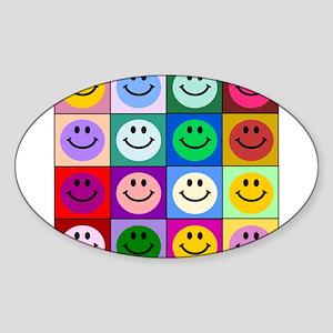 Multicolor Smiley Pattern Sticker (Oval)