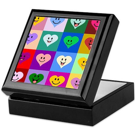 Colorful Smiley Hearts Keepsake Box