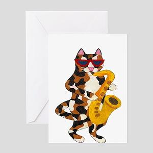 Calico Cat Playing Saxophone Greeting Card