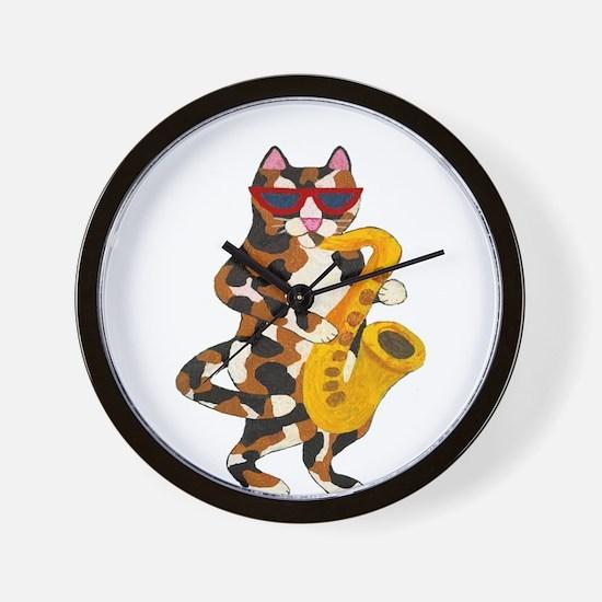 Calico Cat Playing Saxophone Wall Clock