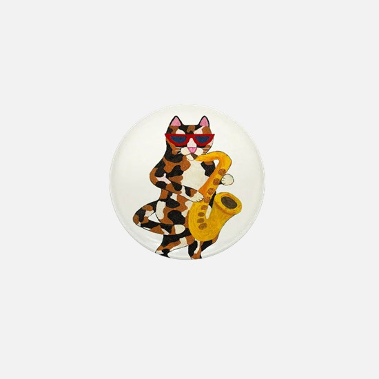 Calico Cat Playing Saxophone Mini Button