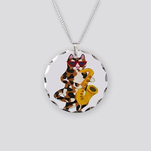 Calico Cat Playing Saxophone Necklace Circle Charm
