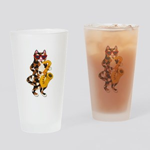 Calico Cat Playing Saxophone Drinking Glass