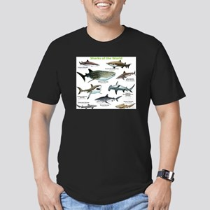 Sharks of the World Men's Fitted T-Shirt (dark)