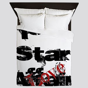 Rock Star Love Affair (blk) Queen Duvet