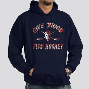 Give Blood Play Hockey Hoodie (dark)