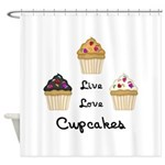 Live Love Cupcakes Shower Curtain