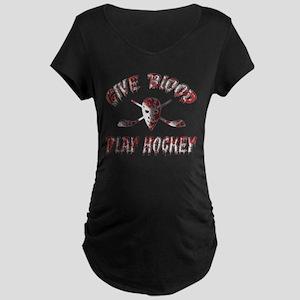 Give Blood Play Hockey Maternity Dark T-Shirt