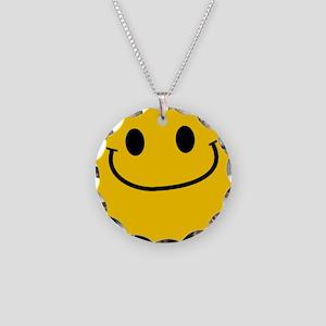 Smug Smiley Necklace Circle Charm