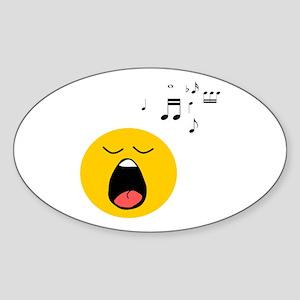 Singing Smiley Sticker (Oval)