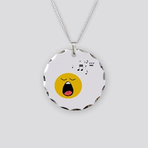 Singing Smiley Necklace Circle Charm