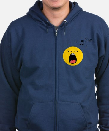 Singing Smiley Zip Hoodie (dark)