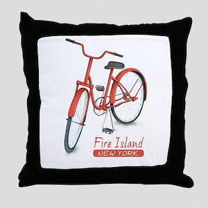 Red Bike Fire Island Throw Pillow