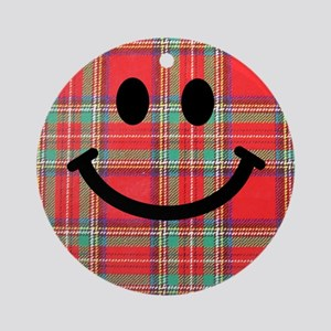 Scottish Tartan Smiley Ornament (Round)