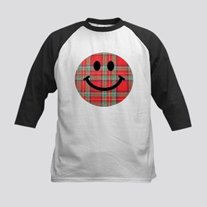 Scottish Tartan Smiley Kids Baseball Jersey
