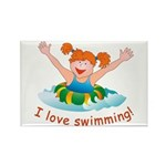 'Girl Swimming' Rectangle Magnet