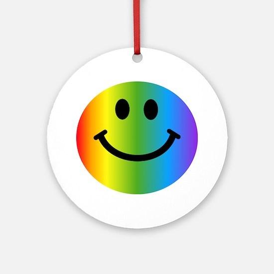 Rainbow Smiley Ornament (Round)