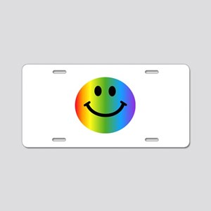 Rainbow Smiley Aluminum License Plate