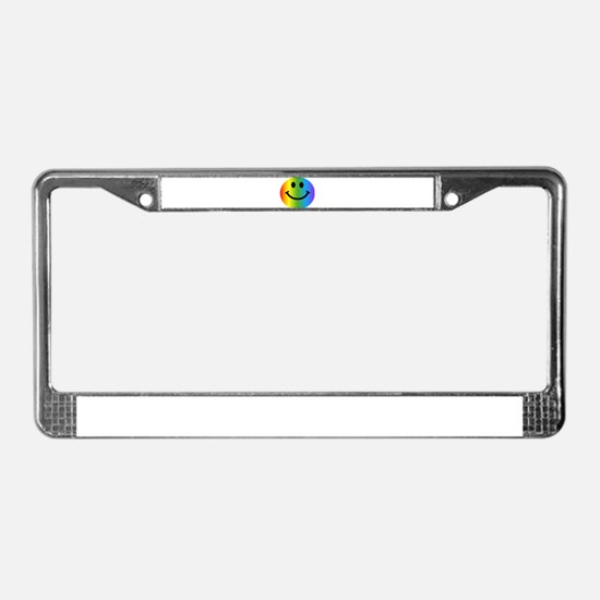 Rainbow Smiley License Plate Frame