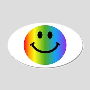 Rainbow Smiley 22x14 Oval Wall Peel