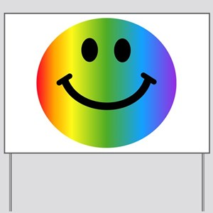 Rainbow Smiley Yard Sign
