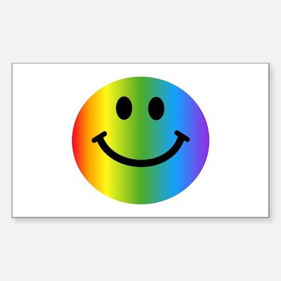 Rainbow Smiley Sticker (Rectangle)