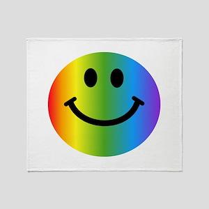 Rainbow Smiley Throw Blanket