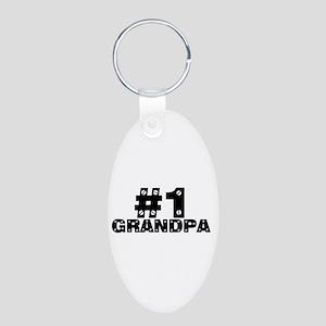 #1 Grandpa Aluminum Oval Keychain