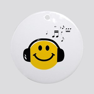 Music Loving Smiley Ornament (Round)