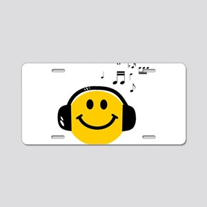 Music Loving Smiley Aluminum License Plate