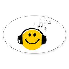 Music Loving Smiley Sticker (Oval)